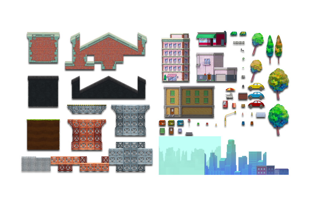 city handpainted game tileset 2