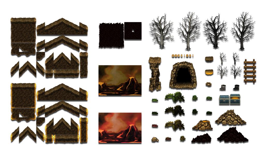 volcano platformer tileset 4